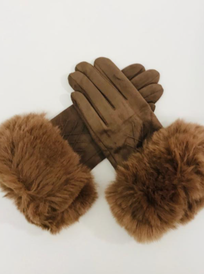 Faux Fur Gloves Taupe