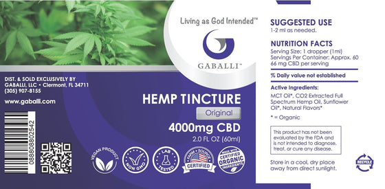 Original Hemp Tincture 4000mg CBD 2.0 fl oz