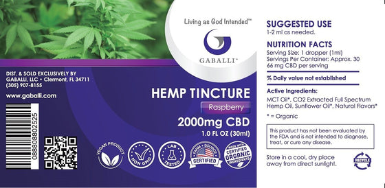 Raspberry Hemp Tincture 2000mg CBD 1.0 fl oz