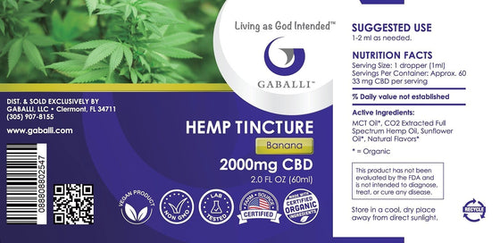 Banana Hemp Tincture 2000mg CBD 2.0 fl oz
