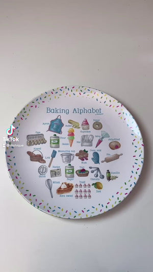 "Baking Alphabet 10"" Thermosaf Plastic Plate"