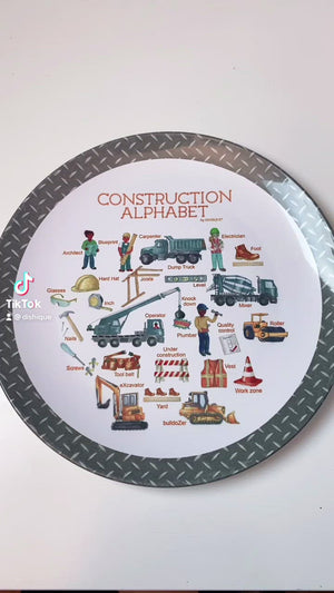 "Construction Alphabet 10"" Thermosaf Plastic Plate"