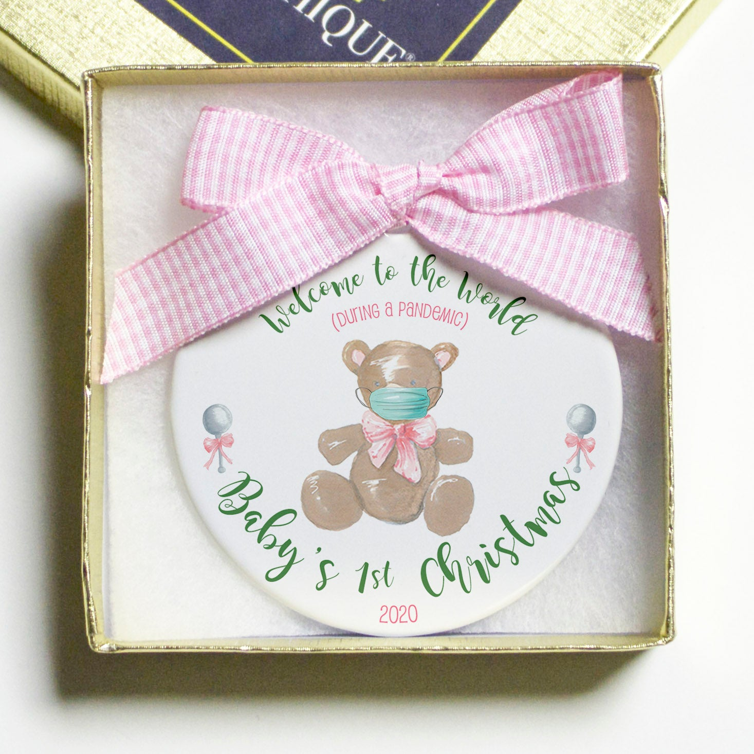 Baby's First Christmas (during a pandemic) Flat Disc Ornament - Pink/Girls