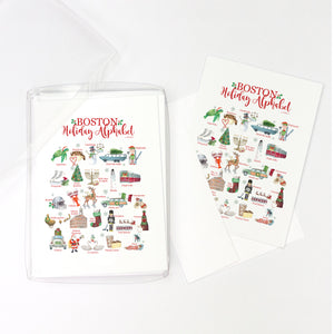 Boston Holiday Alphabet Greeting Cards, Pack of 10 cards (blank inside)