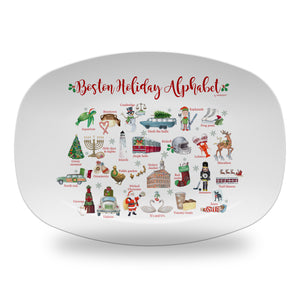 "Boston Holiday Alphabet 14"" ThermoSaf Polymer Platter"