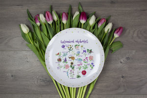 "Botanical Alphabet 10"" Unbreakable Thermosaf Polymer Plate"