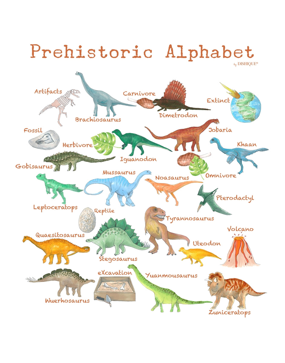 Prehistoric Alphabet Wall Art