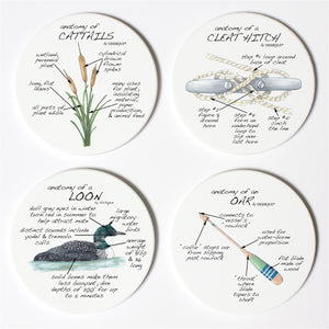 Lake Life Anatomy Coaster Set