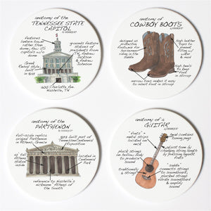 Nashville Anatomy Coaster Set