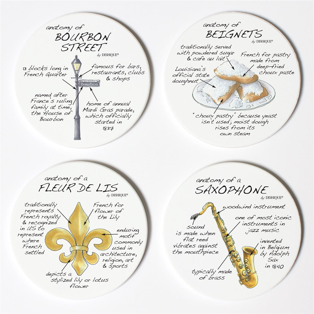 New Orleans Anatomy Coaster Set