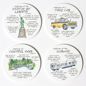 New York City Anatomy Coaster Set