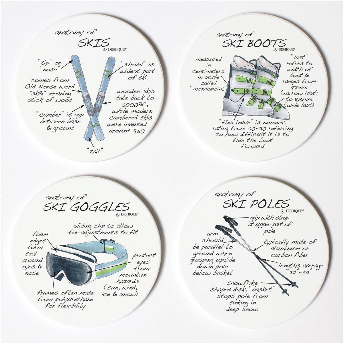 Skiing Anatomy Coaster Set