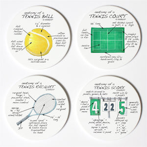 Tennis Anatomy Coaster Set