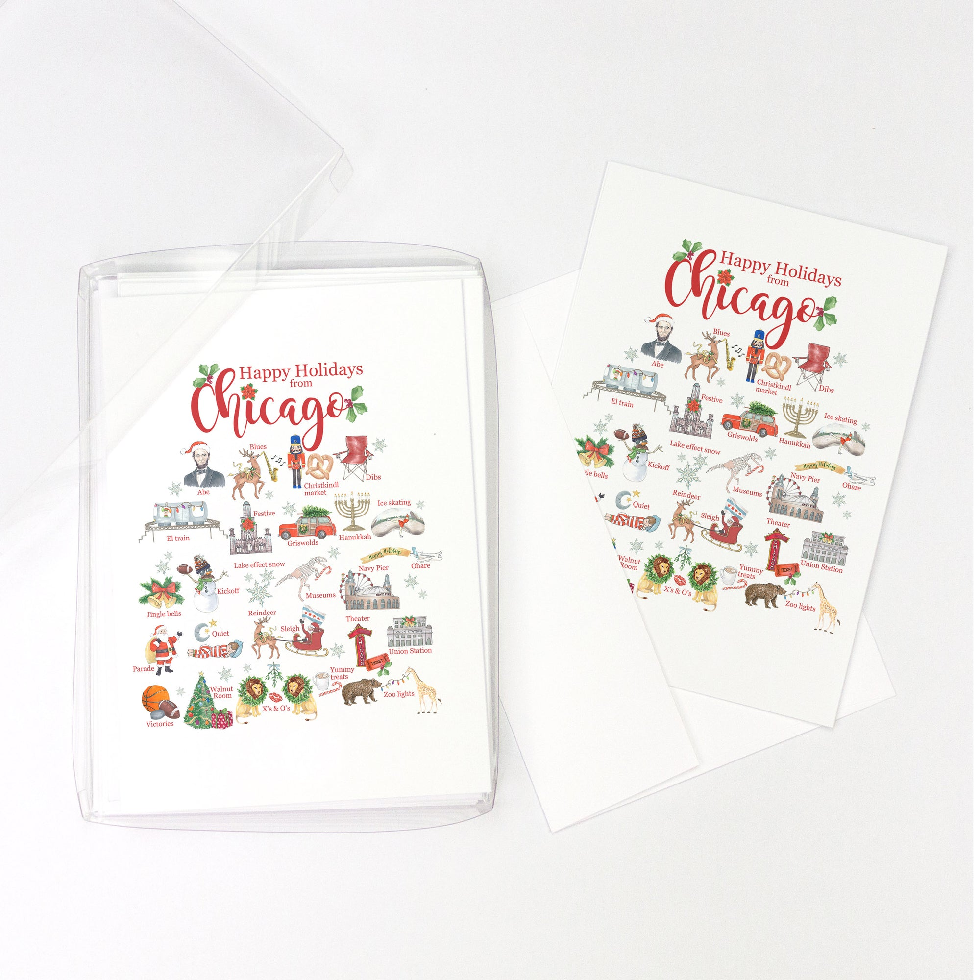 Happy Holidays from Chicago Alphabet Greeting Cards, Pack of 10 cards (blank inside)