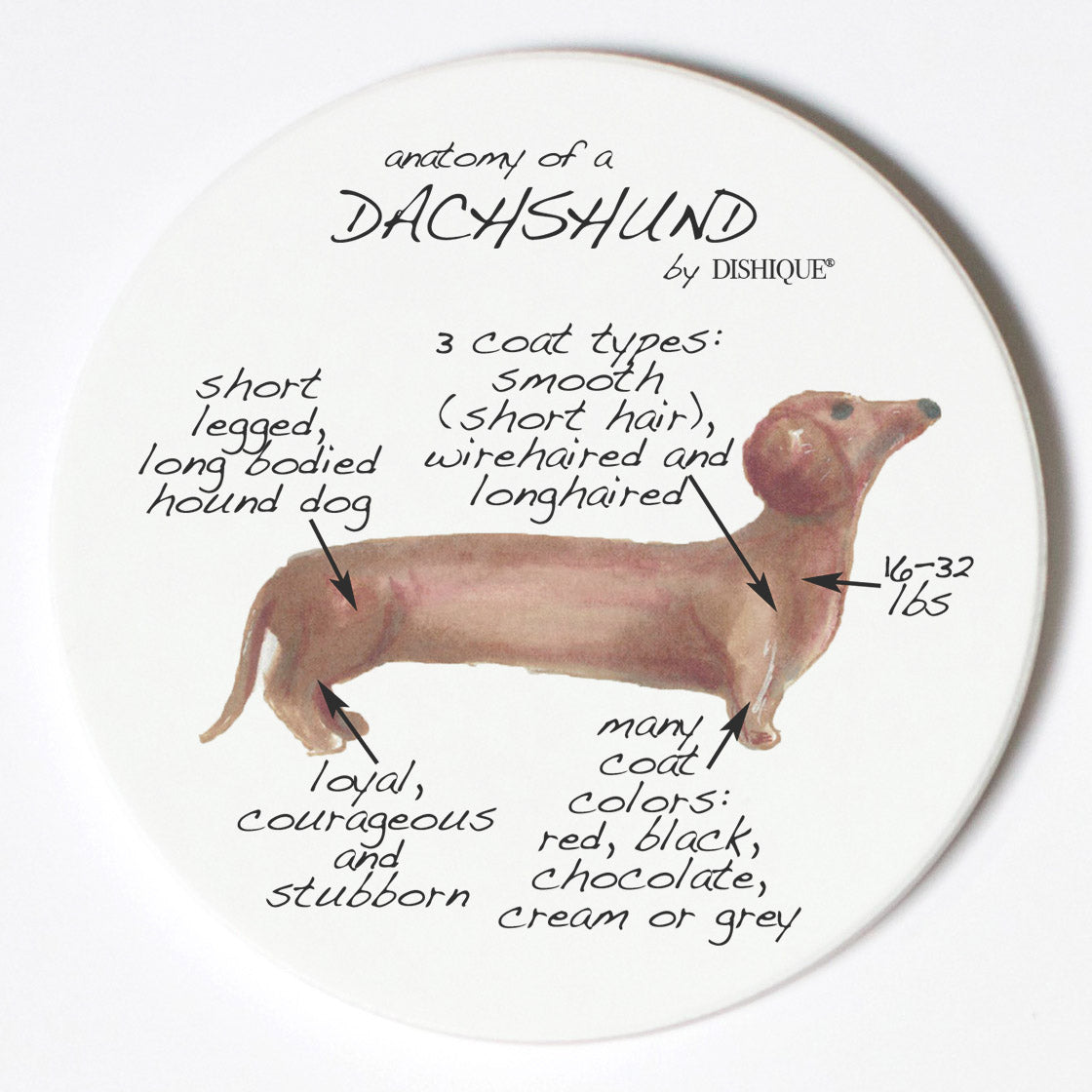 Individual Coaster - Dog Breed Gifts - Dachshund