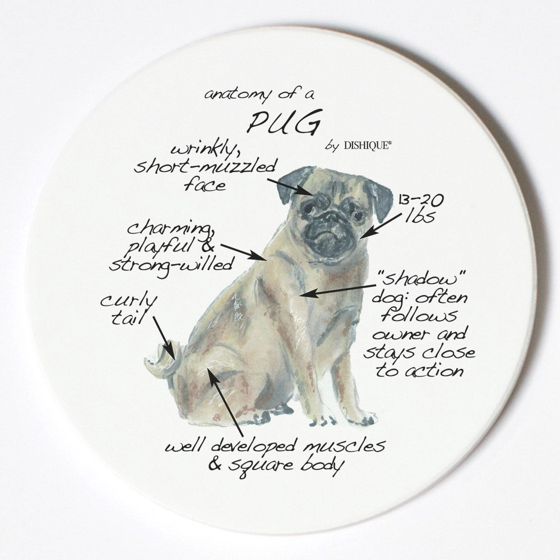 Individual Coaster - Dog Breed Gifts - Pug