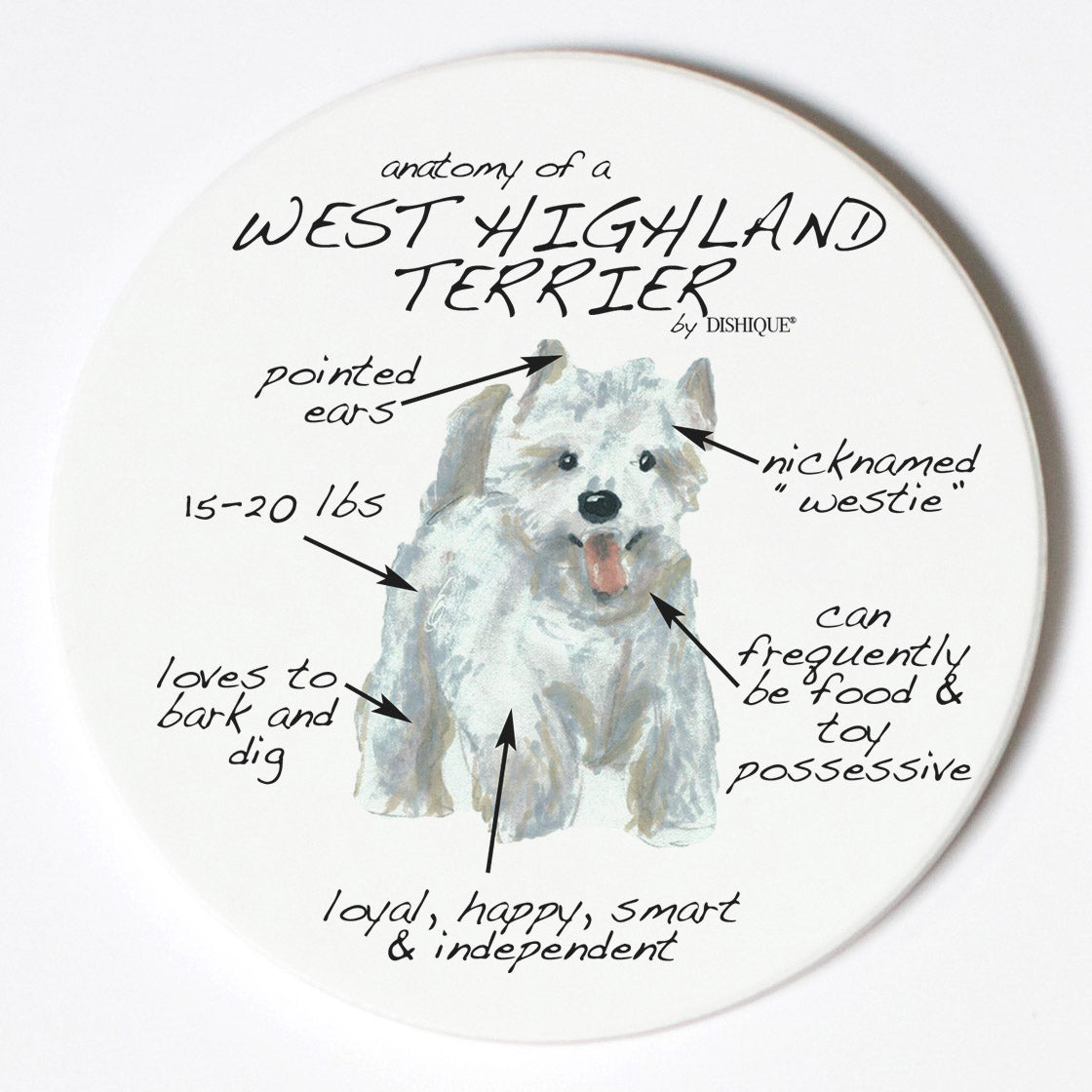 Individual Coaster - Dog Breed Gifts - West Highland Terrier