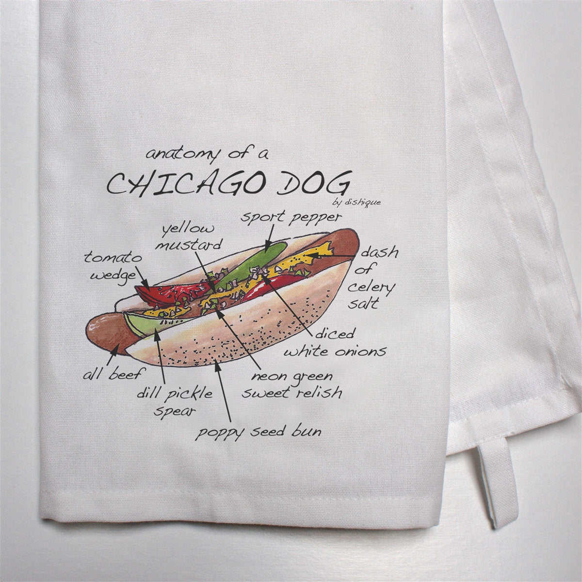 Anatomy of a Chicago Dog Dish Towel