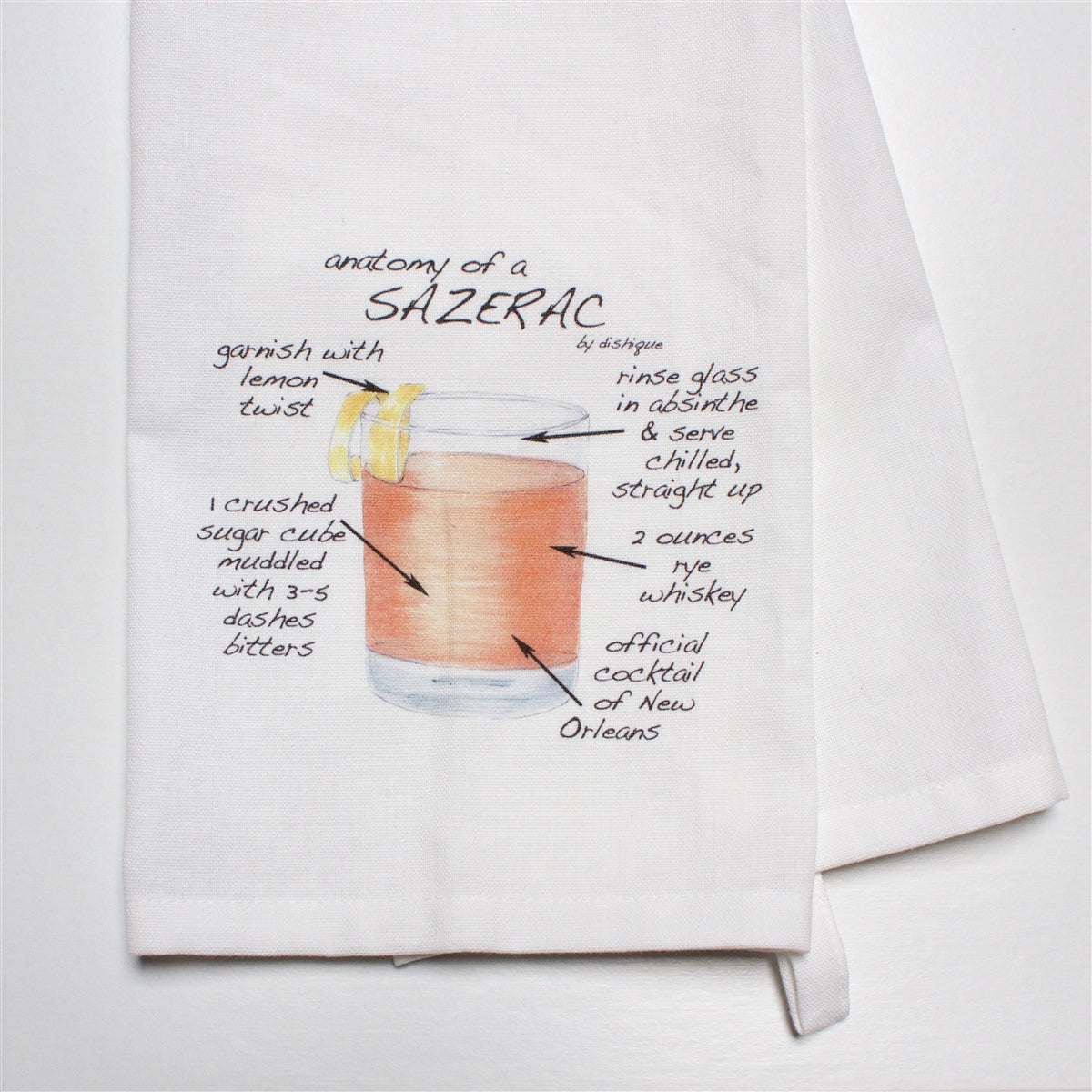 Anatomy of a Sazerac Dish Towel