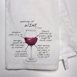 Anatomy of Wine Dish Towel