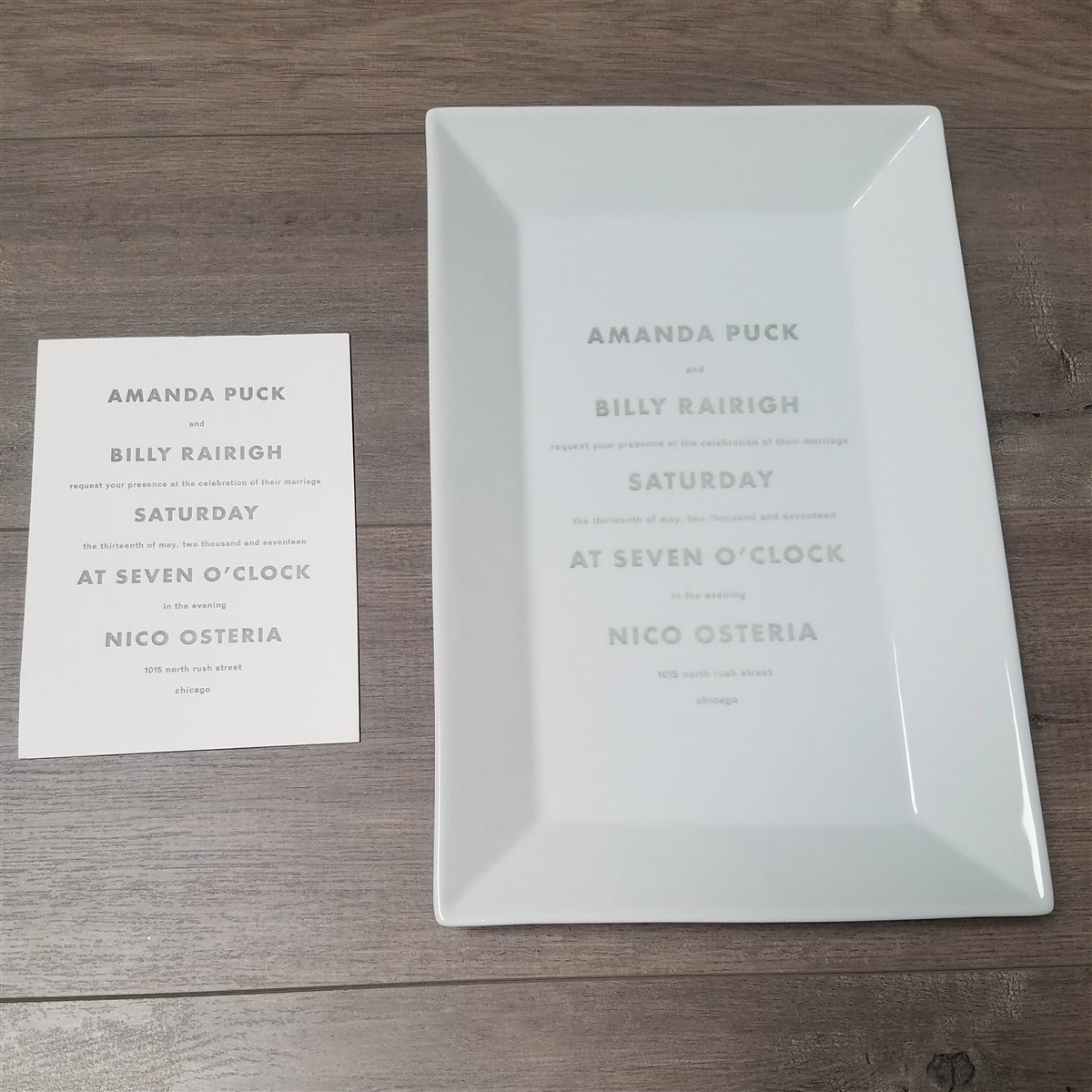 Custom Wedding Invitation Rectangle Platter