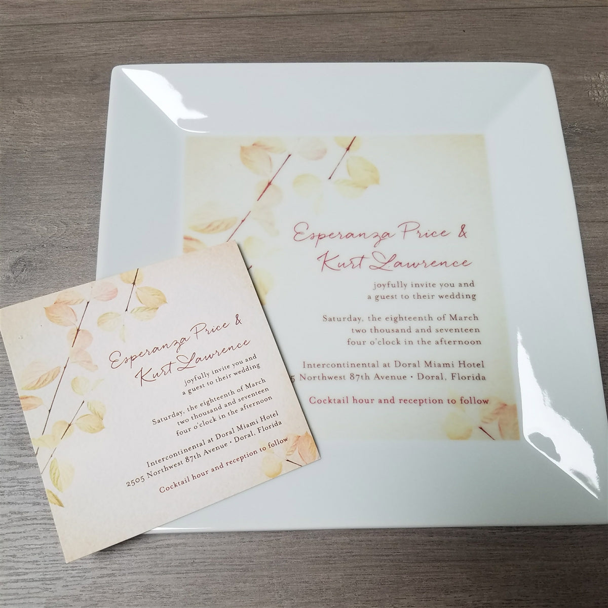 Custom Wedding Invitation Square Platter