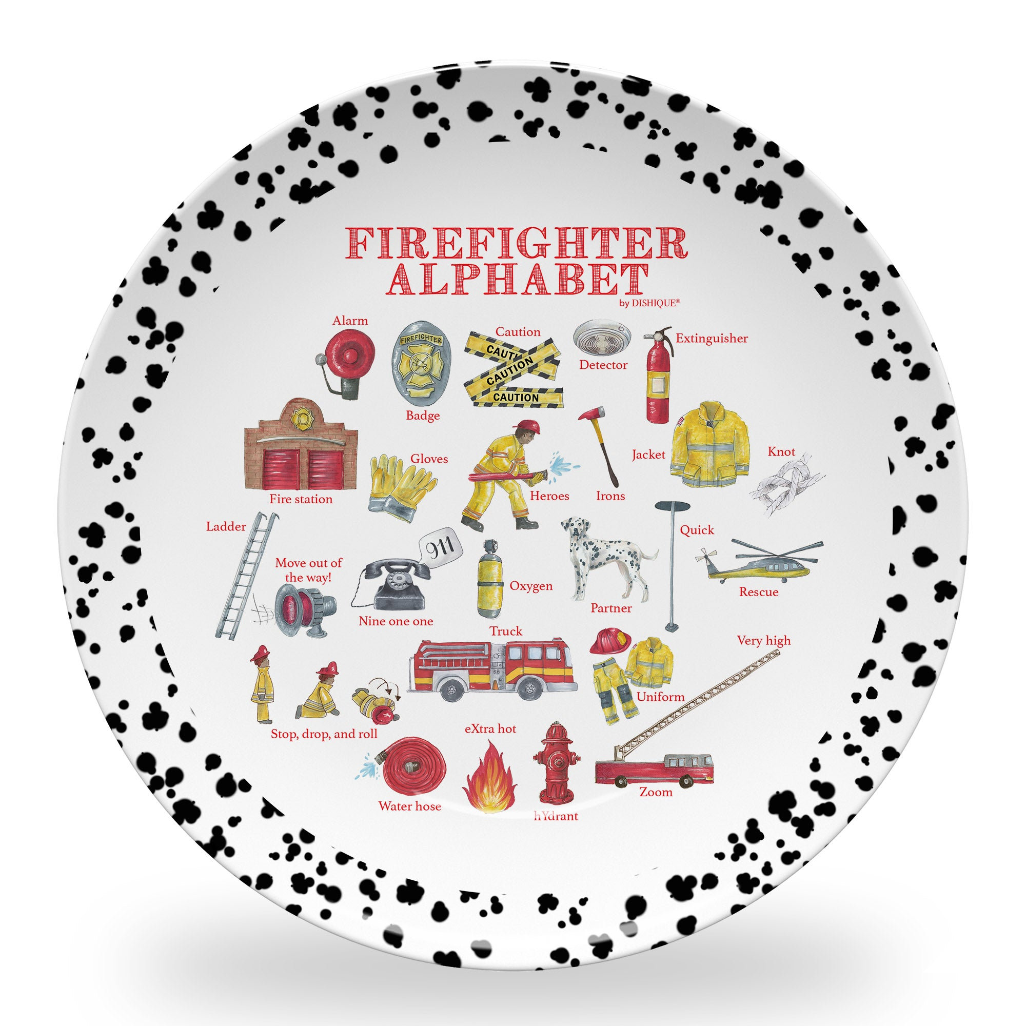 "Firefighter Alphabet 10"" Thermosaf Polymer Plate"