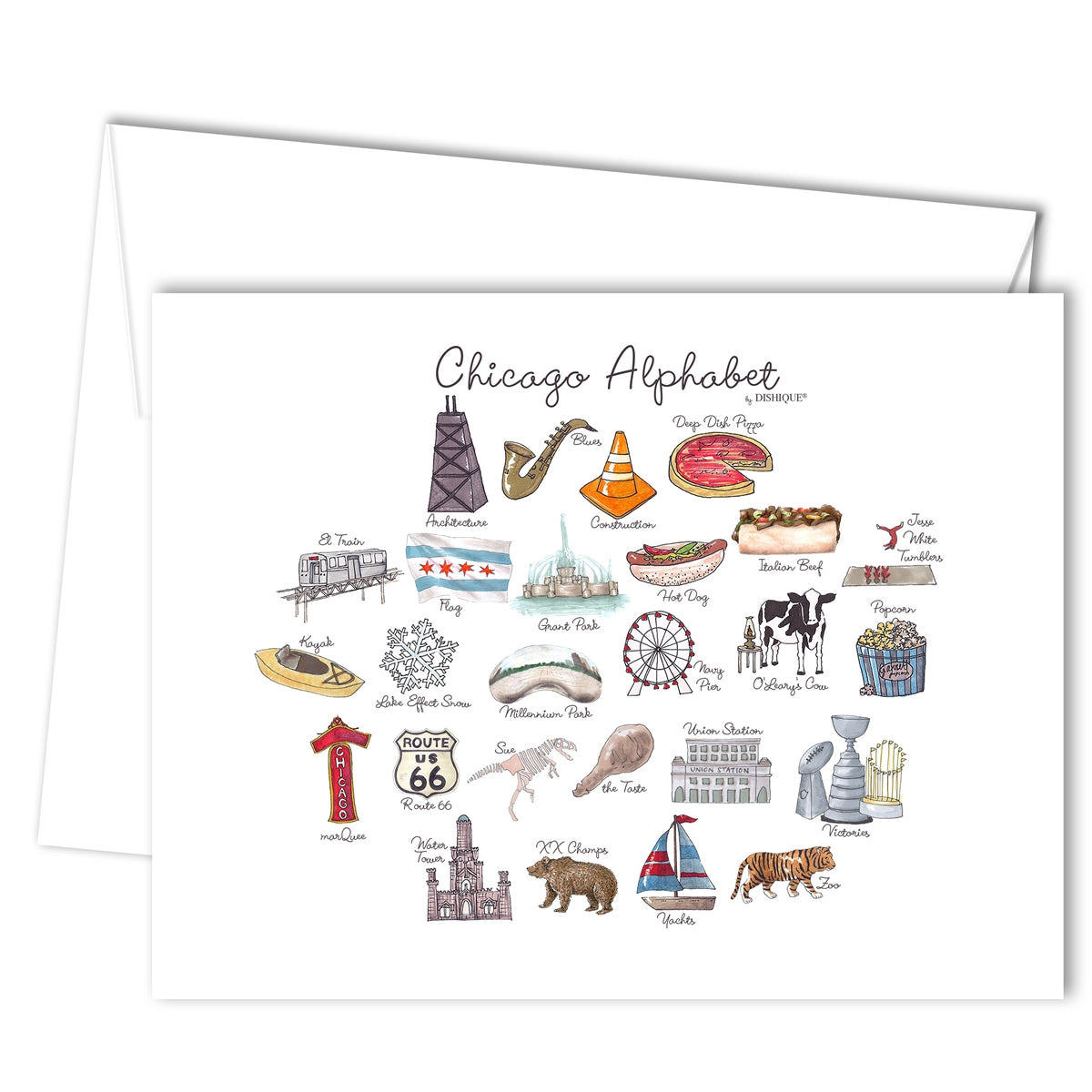 Chicago Alphabet Greeting Card (blank inside)