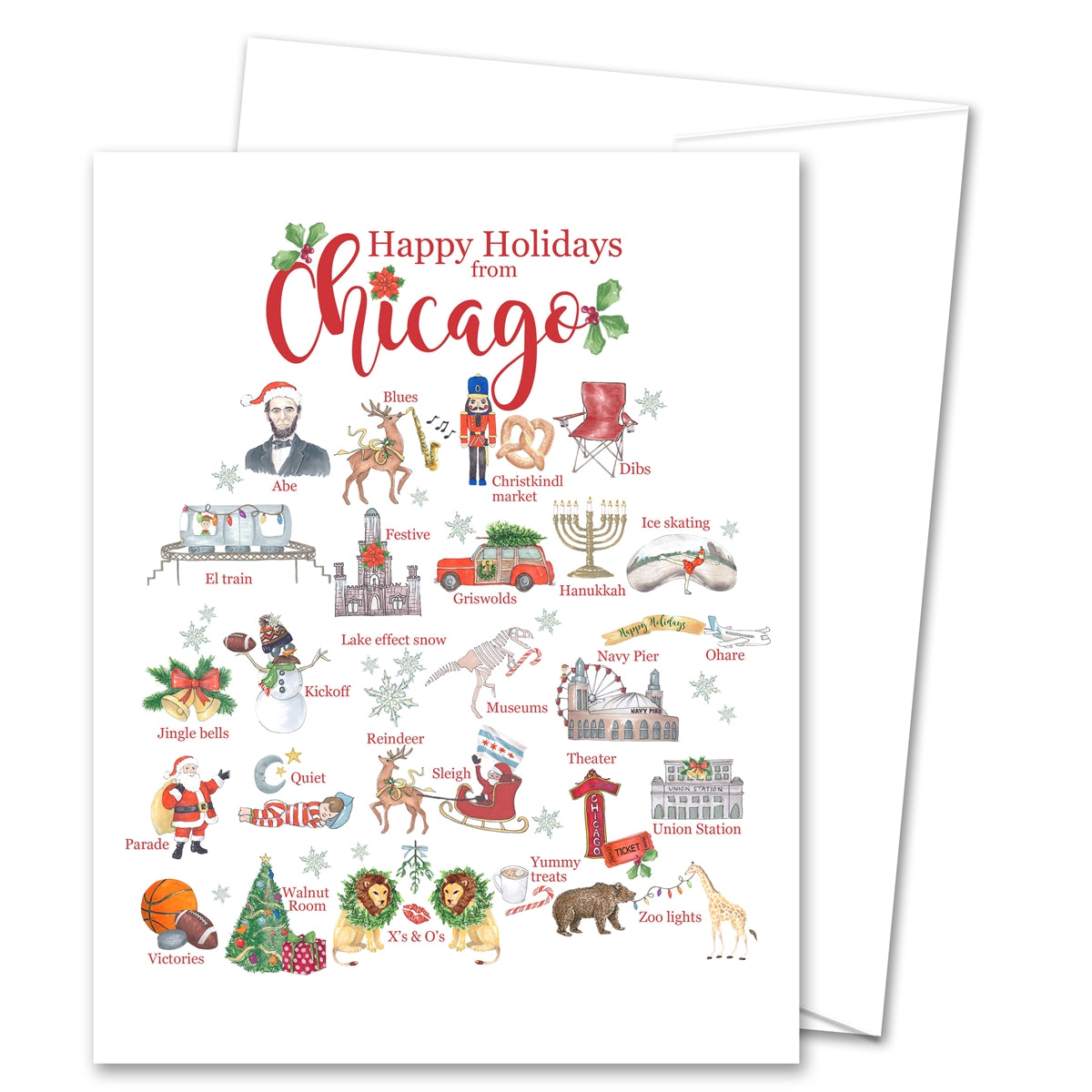 Happy Holidays From Chicago Alphabet Greeting Card (blank inside)