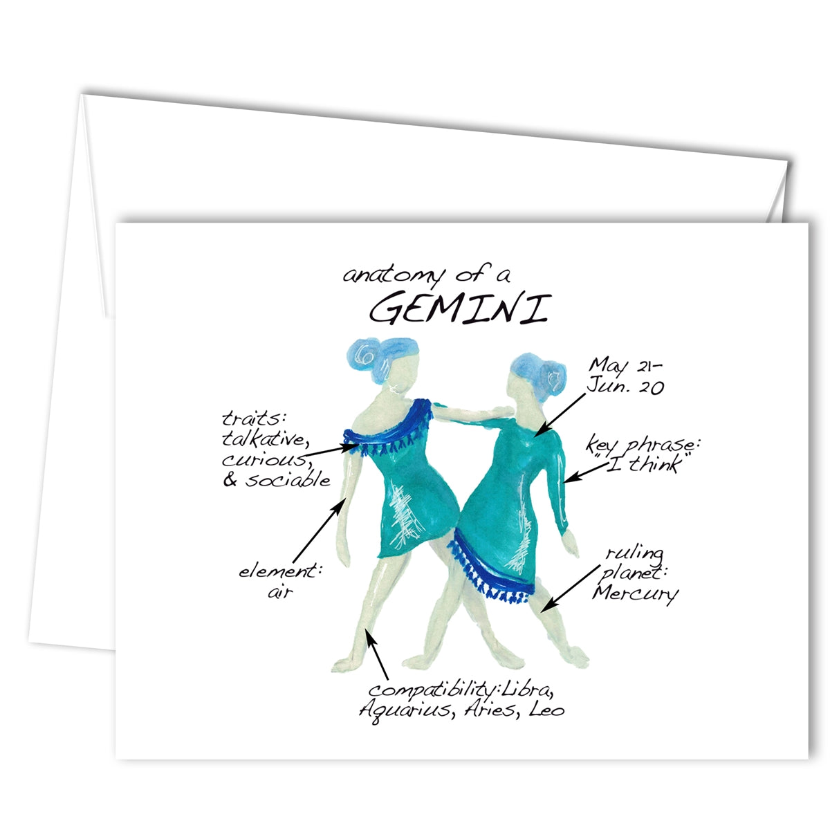 Gemini Anatomy Greeting Card (blank inside)