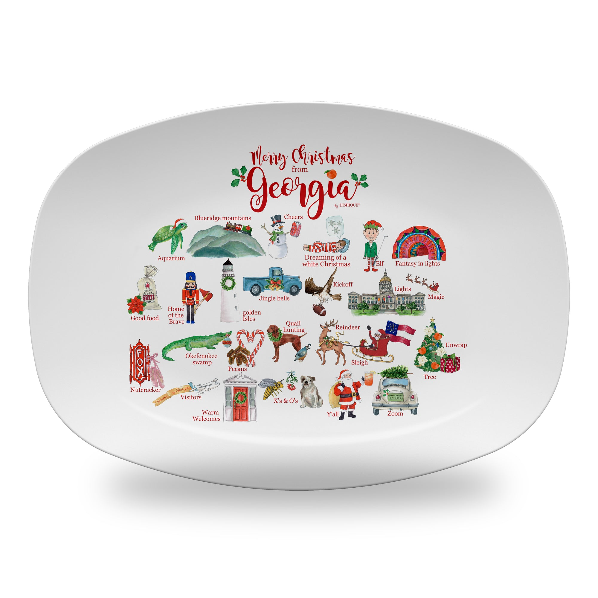 "Merry Christmas from Georgia Alphabet 14"" ThermoSaf Polymer Platter"