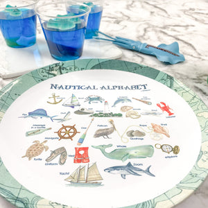 "Nautical Alphabet 10"" Thermosaf Plastic Plate"