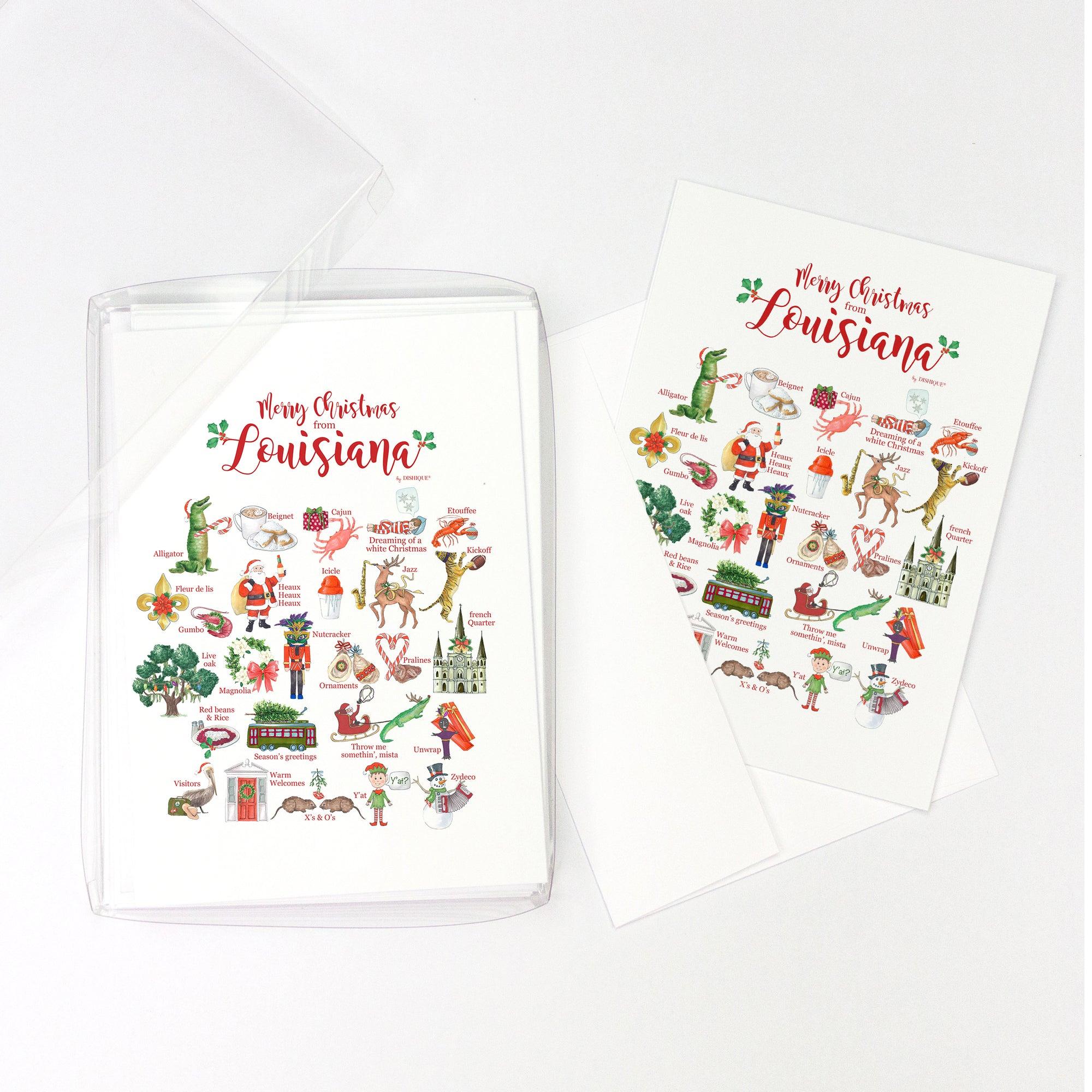 Merry Christmas from Louisiana Alphabet Greeting Cards, Pack of 10 cards (blank inside)