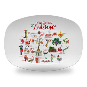 "Merry Christmas from Louisiana Alphabet 14"" ThermoSaf Polymer Platter"