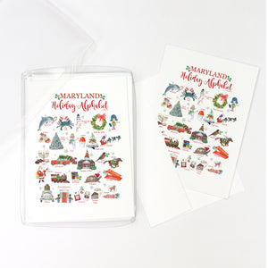 Maryland Holiday Alphabet Greeting Cards, Pack of 10 cards (blank inside)