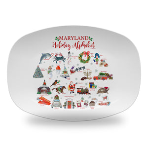 "Maryland Holiday  Alphabet 14"" ThermoSaf Polymer Platter"