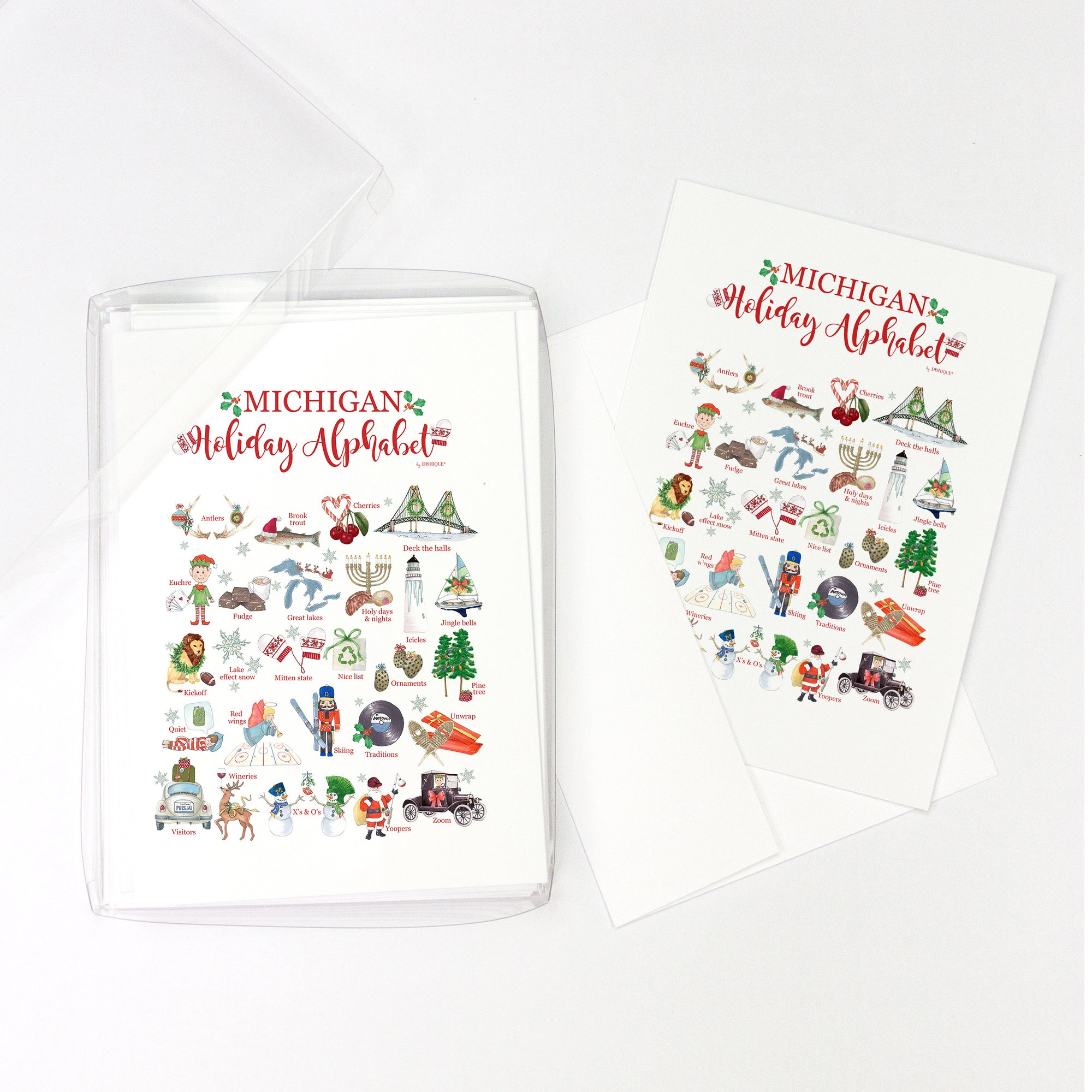Michigan Holiday Alphabet Greeting Cards, Pack of 10 cards (blank inside)