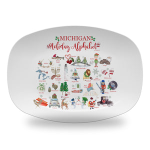 "Michigan Holiday  Alphabet 14"" ThermoSaf Polymer Platter"