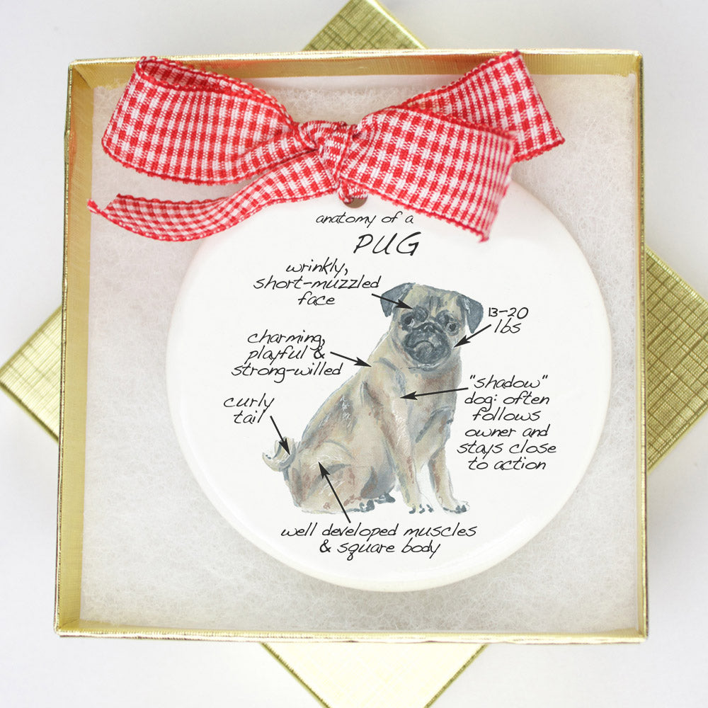 Pug Holiday Ornament - Dog Breed Gifts
