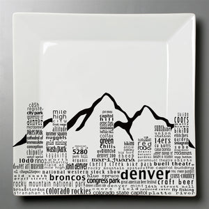 Denver Skyline Plate- Large Square Platter