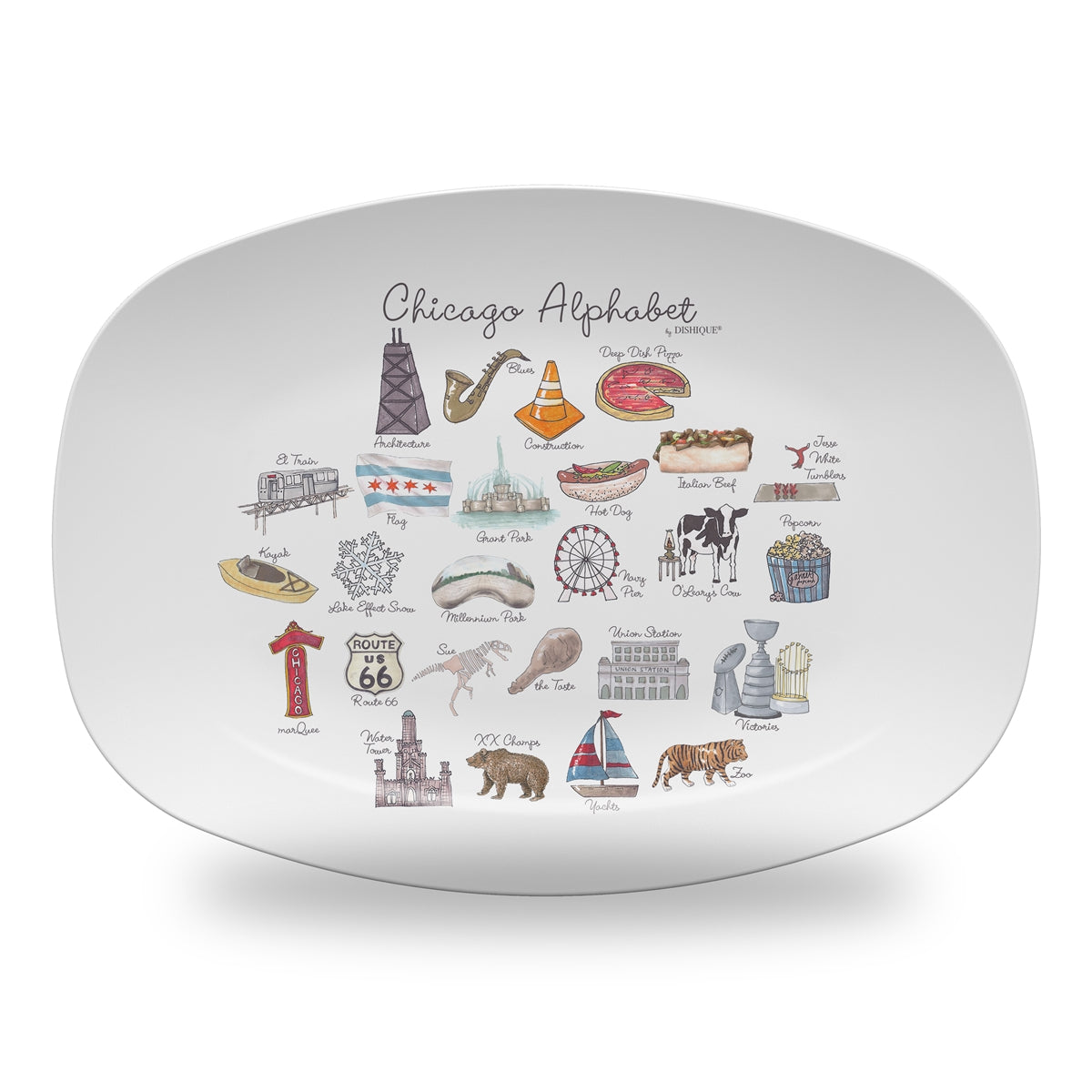 "Chicago Alphabet 14"" ThermoSaf Polymer Platter"