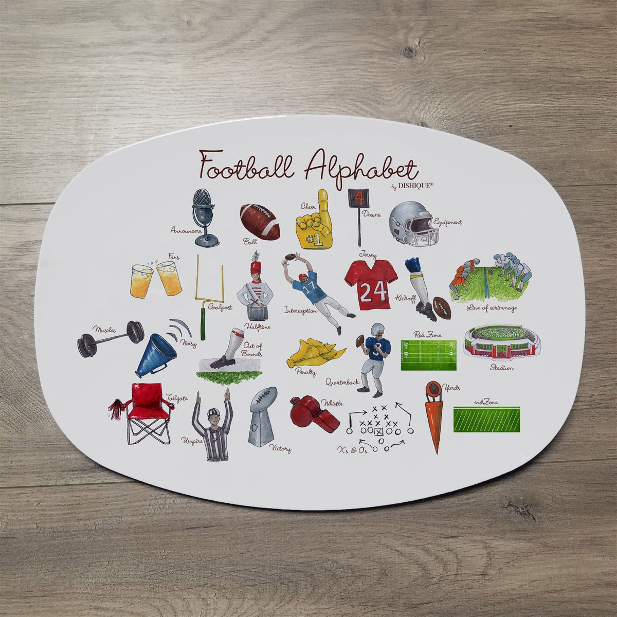 "Football Alphabet 14"" ThermoSaf Polymer Platter"