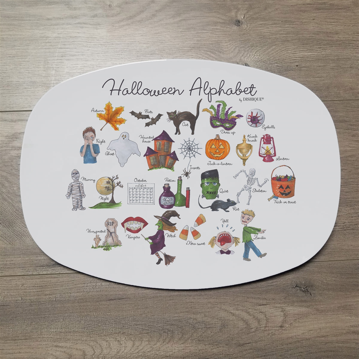 "Halloween Alphabet 14"" ThermoSaf Polymer Platter"