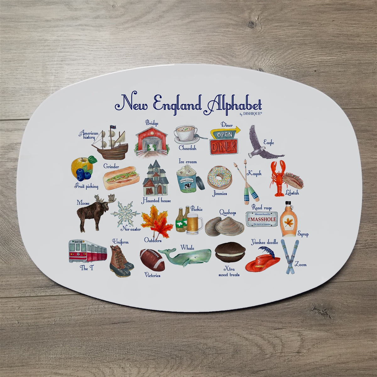 "New England Alphabet 14"" ThermoSaf Polymer Platter"