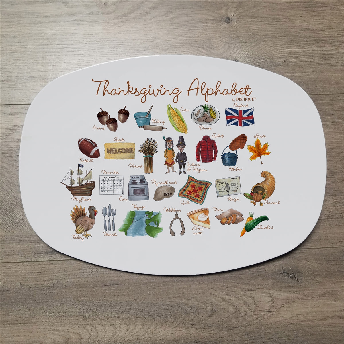 "Thanksgiving Alphabet 14"" ThermoSaf Polymer Platter"