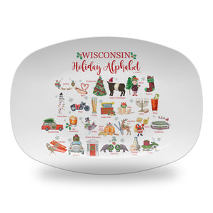 "Wisconsin Holiday  Alphabet 14"" ThermoSaf Polymer Platter"