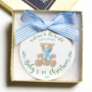 Baby's First Christmas (during a pandemic) Flat Disc Ornament - Blue/Boys