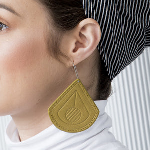 Strum Olive Leather Earrings