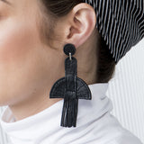 Chrysler Black Leather Earrings