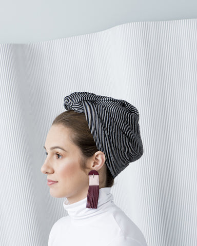 Decoup Bordo & Pink Leather Earrings
